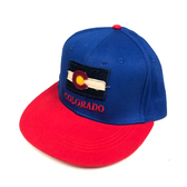 Colorado Flag Adjustable Flat Brim Baseball Hat (BLUE & RED)