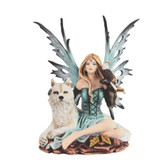 "Blue Fairy with Spirits of the Wolf and Eagle  8"" Tall"