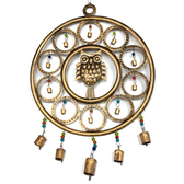 Iron Owl With Rings Wind Chime IN10670 by Paykoc
