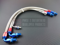 P2M Steel Braided Turbo Oil Lines for Bottom Mount S14/15 SR20 Turbos (95-02 S14/15)