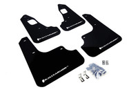 Rally Armor UR Mud Flaps Black with White Logo (08-15 Evo X)