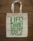 JUNKFUNK SCREENPRINT LIFE'S A JOURNEY ECO CANVAS TOTE BAG SHOPPER