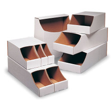 "VSBIN Series Stackable Boxes  12"" x 12"" x 4.5""- CardboardPartsBins.com, Call Us Toll Free 800-765-9977"