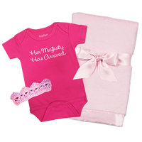 Her Majesty Onesie Crown and Blanket Baby Gift Set