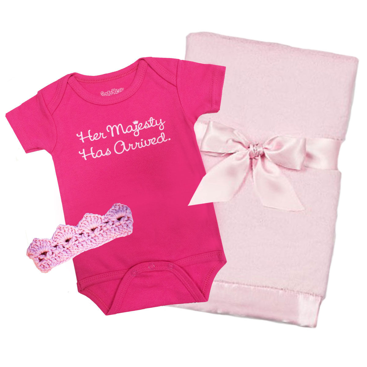 Her Majesty Onesie Crown and Blanket Gift Set
