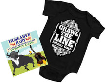 Johnny Cash Crawl the Line Onesie Gift set with Lullaby CD