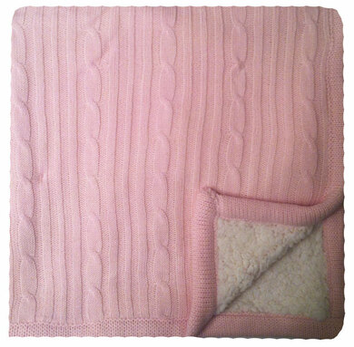 Pink Cable Knit Baby Blanket Showing Sherpa Back