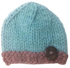 Aqua and Tan Luke Button Hat
