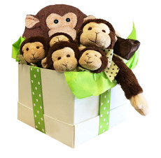 Giggles Monkey 7 piece Gift Set.  Arrives wrapped in cellophane and tied with a cheerful green polka dot ribbon.