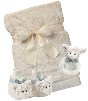 Lamby Booties, Blanket and Rattle Gift Set