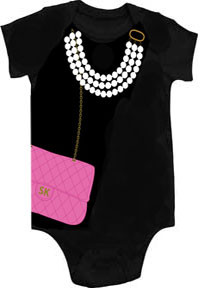 Pink Bag with Pearls Onesie by Sarakety