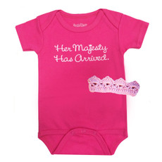 Her Majesty Has Arrived Baby Onesie and Crown Gift Set