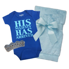 His Majesty Onesie, Crown and Blanket Baby Gift Set