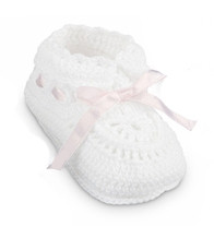 White Lace Baby Booties with Pink Ribbon