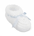 White Lace Baby Booties with Blue Ribbon