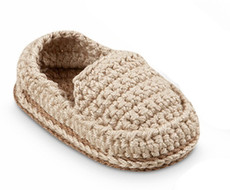 Beige Hand Crocheted Baby Loafers