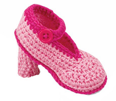 Pink High Heeled Baby Booties