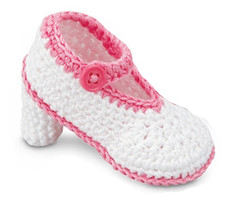 White with Pink High Heeled Baby Booties