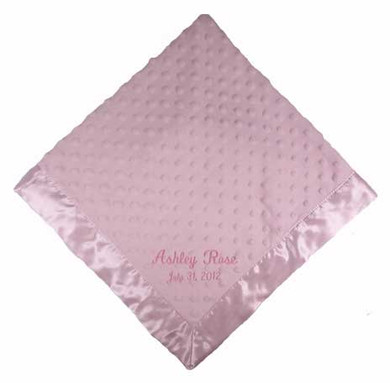 Pink Dottie Snuggle Blanket with two line personalization, casual script in pale pink