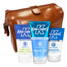 Wash, Shave, Moisturise + Toiletry Bag Travel Kit (in Tan)