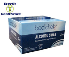 Box of 200 individually packaged wipes. 2 ply, 65mm x 30mm each. Saturated with 70% Isopropyl Alcohol.