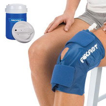 Aircast Knee Cryo/Cuff has an anatomic cuff design for complete coverage of the knee area. Includes Cooler!