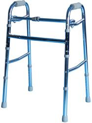 Side fold walker frame is manufactured from lightweight aluminium and folds easily from each side.