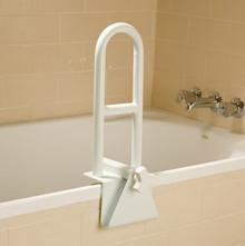 Powder coated steel bath rail is adjustable and clamps directly onto the side of most bathtubs
