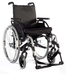 The  Breezy BasiX2 wheelchair is lightweight and has a sleek appearance.