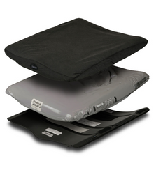 The JAY Duo wheelchair cushion  features an integrated, contoured solid seat pan with a soft foam and fluid seat cushion.