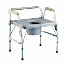 The Invacare Bariatric drop arm commode has extra wide and deep seat surface with the added convenience of being able to drop the arms for side transfers