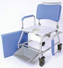 "The Atlantic Wave Commode & Shower Chair is manufactured from a high grade silver painted aluminium frame, which offers a rust free product and high strength. It is easy manoeuvrable and has a weight capacity of up to 225kgs (35 stone) making it suitable for bariatric patients. It comes in a 18"" seat width option."
