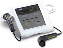 Metron Advanced Laser - with single 100mW laser probe. The first laser system which allows the therapist to set energy levels (joules) and time from the laser probe.