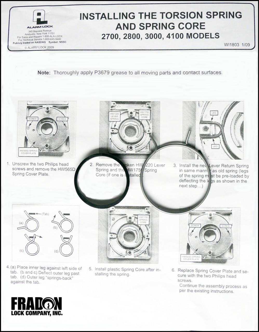 Alarm Lock Lever Return Replacement Spring S6148