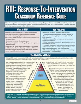 Response to Intervention Classroom Reference Guide