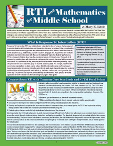 RTI and Mathematics for Middle School