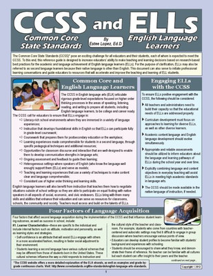 Common Core State Standards and ELLs