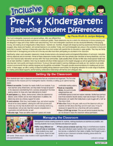 Inclusive Pre-K and Kindergaten: Embracing Student Differences, cover