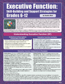 Executive Function: Skill Building and Support Strategies, Grades 6-12, cover