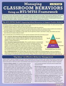 Managing Classroom Behaviors Using an RTI/MTSS Framework
