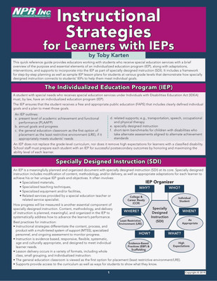 Instructional Strategies For Learners With Ieps National Professional Resources Inc
