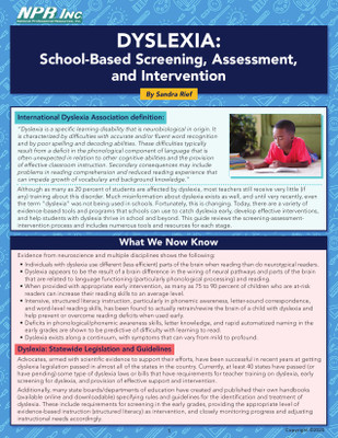 Dyslexia: School-Based Screening, Assessment, and Intervention