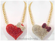 Jumbo Crystal Heart Necklace with Bowtie