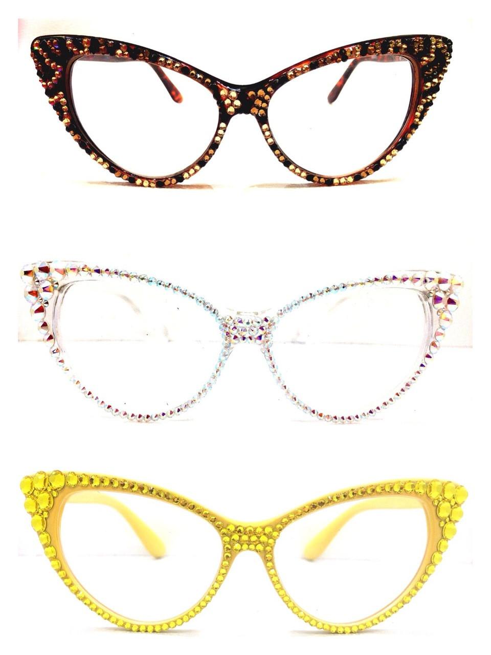 d4a15c534070 Optical Crystal Cat Eye Reading Glasses