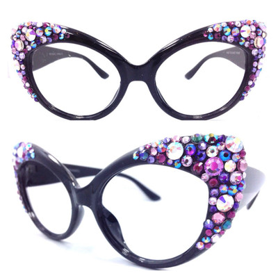 Royal Majestic Cateye Glasses: Sparkling Violet, Violet AB, Aurora Borealis, Amethyst, Amethyst AB, Light Amethyst, Light Amethyst AB, Tanzanite, Deep Tanzanite, Vitrail Light and Heliotrope Crystals are strategically placed for maximum dazzle, sparkle, and gleam!