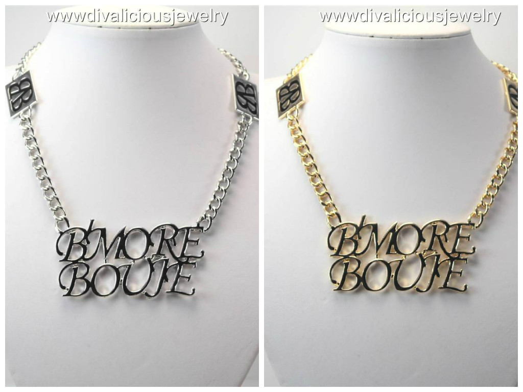 Gold or Silver Crystal HOPE Square Statement Bling Diva Necklace