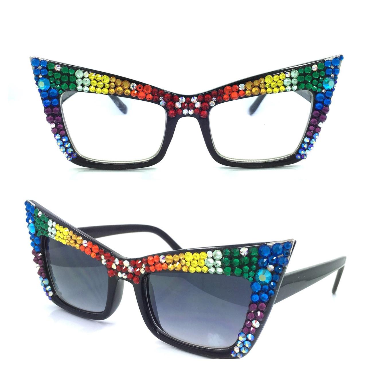 ac5923b6689 Crystal Square Cateye Reading Glasses