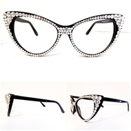 Optical CRYSTAL Cat Eye Glasses - Clear on Black Frame