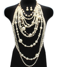 Mother of Pearl Necklace and Earring Set - Gold and Cream