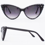 Polarized CRYSTAL Cat Eye SUN Glasses - Black on Black Frame